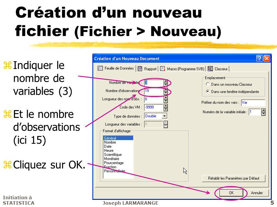 Création d'un nouveau fichier (Fichier > Nouveau)