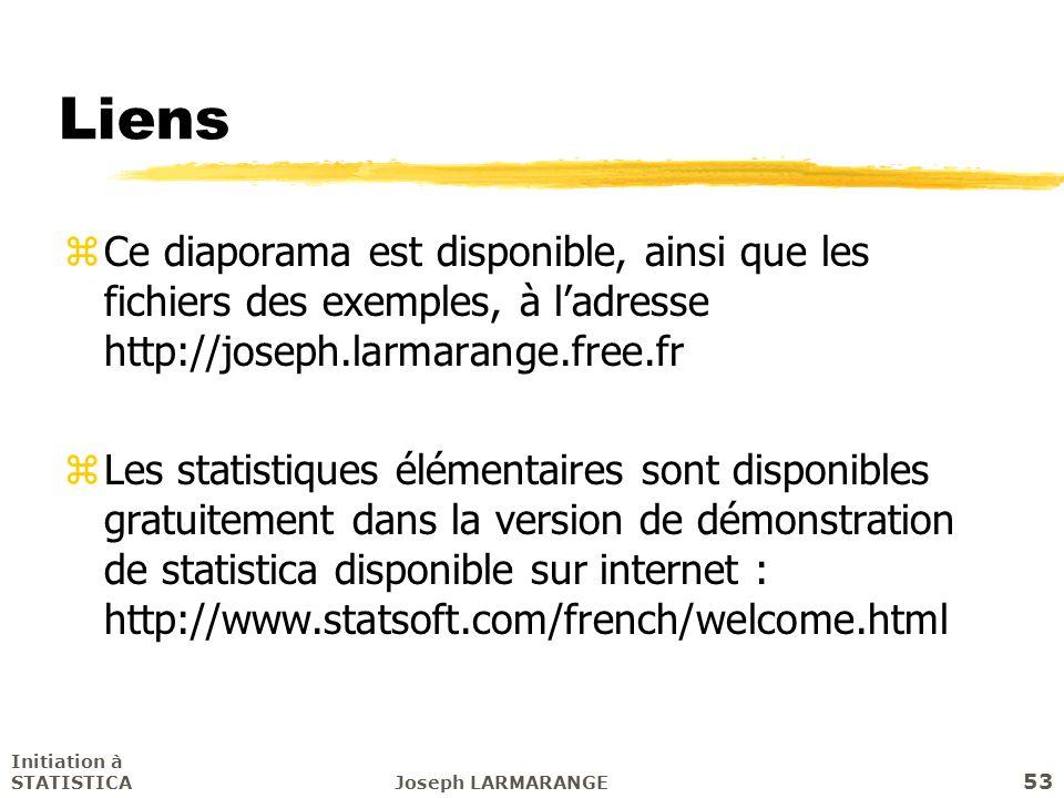 Liens Ce diaporama est disponible, ainsi que les fichiers des exemples, à l'adresse http://joseph.larmarange.free.fr.
