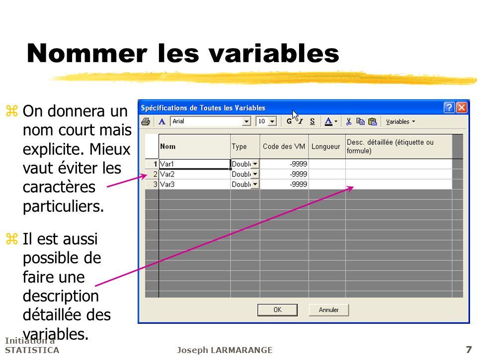 Nommer les variables On donnera un nom court mais explicite. Mieux vaut éviter les caractères particuliers.