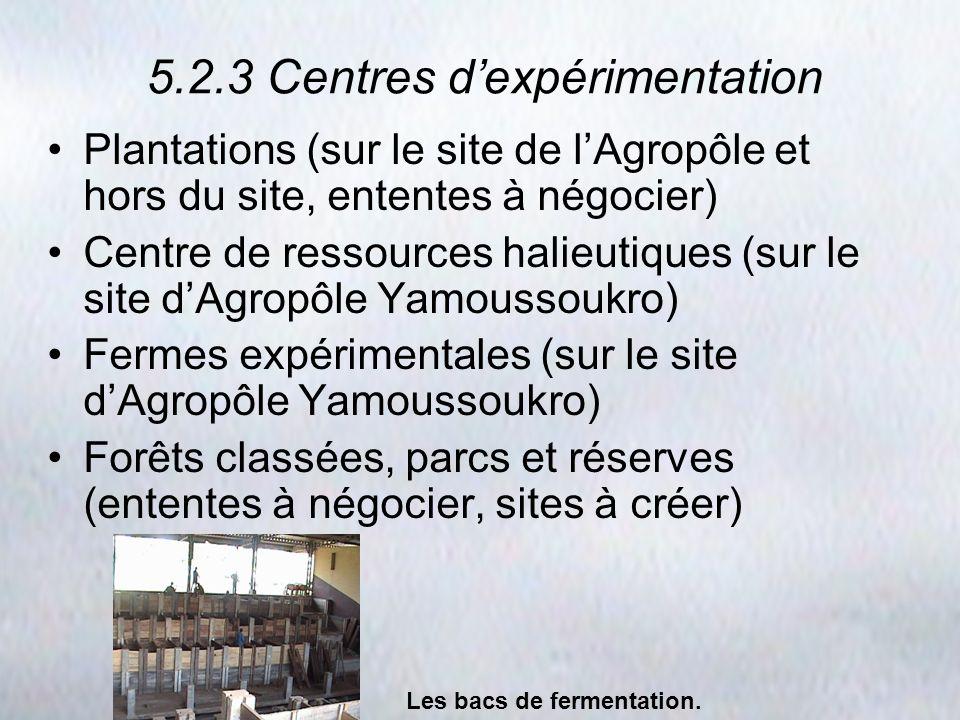 5.2.3 Centres d'expérimentation