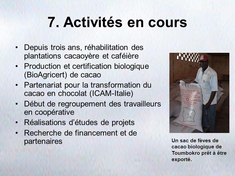 7. Activités en cours Depuis trois ans, réhabilitation des plantations cacaoyère et caféière.