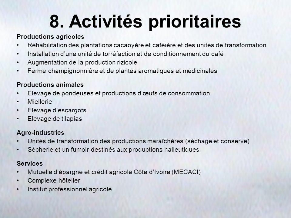 8. Activités prioritaires