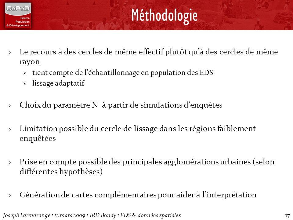 Méthodologie Le recours à des cercles de même effectif plutôt qu'à des cercles de même rayon.