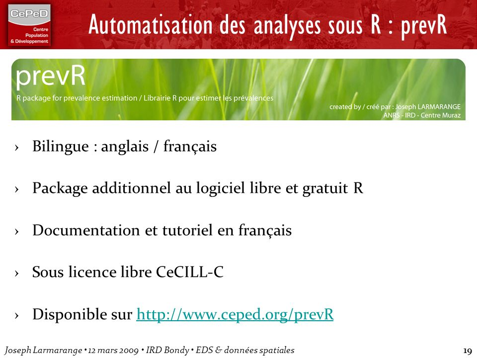 Automatisation des analyses sous R : prevR