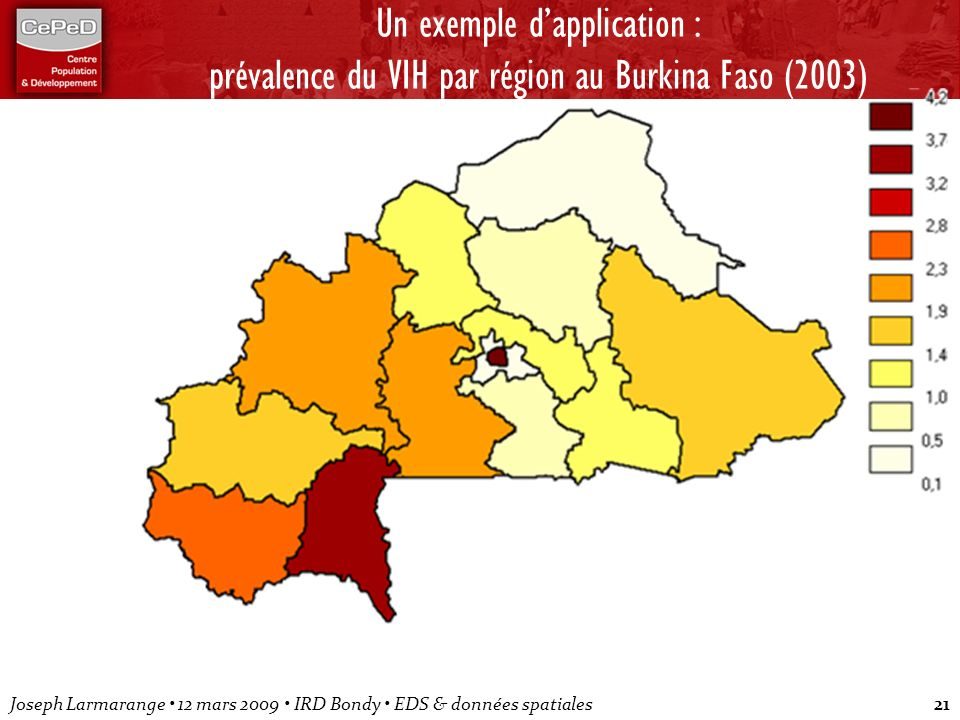 Un exemple d'application : prévalence du VIH par région au Burkina Faso (2003)