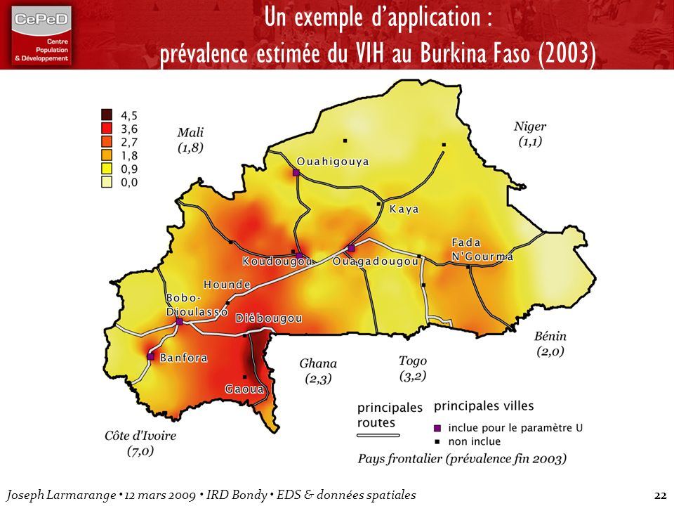 Un exemple d'application : prévalence estimée du VIH au Burkina Faso (2003)