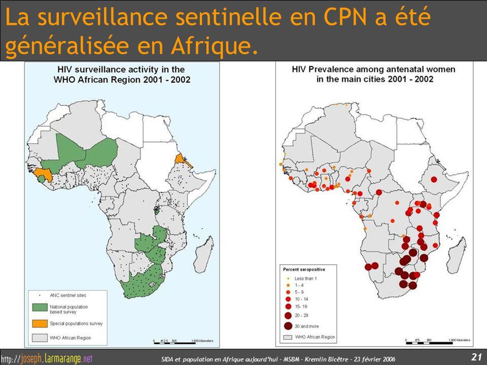 La surveillance sentinelle en CPN a été généralisée en Afrique.