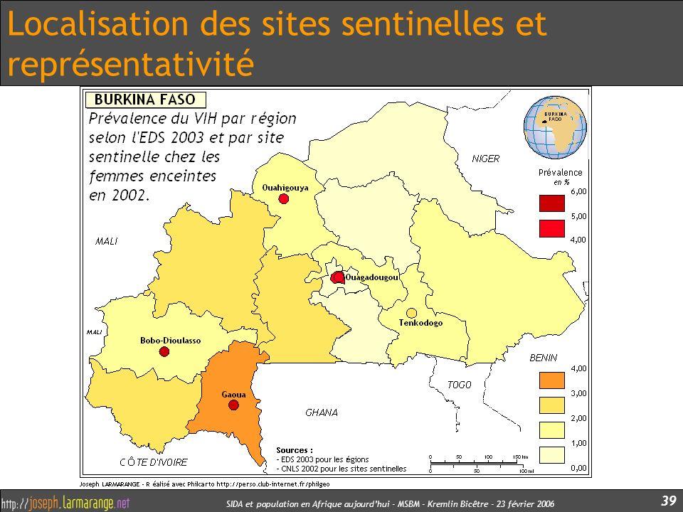 Localisation des sites sentinelles et représentativité