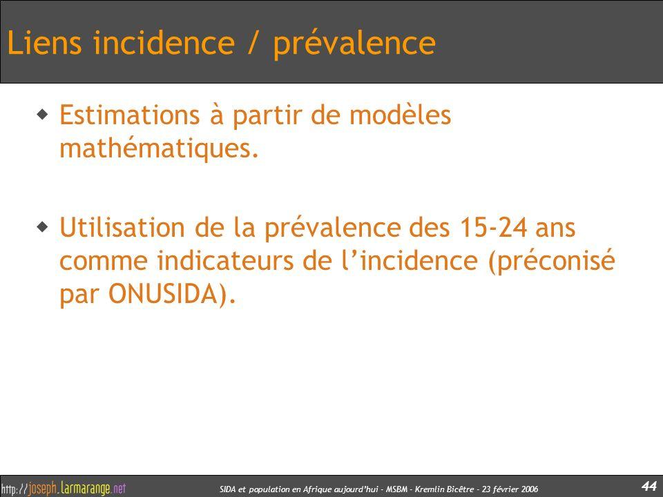 Liens incidence / prévalence