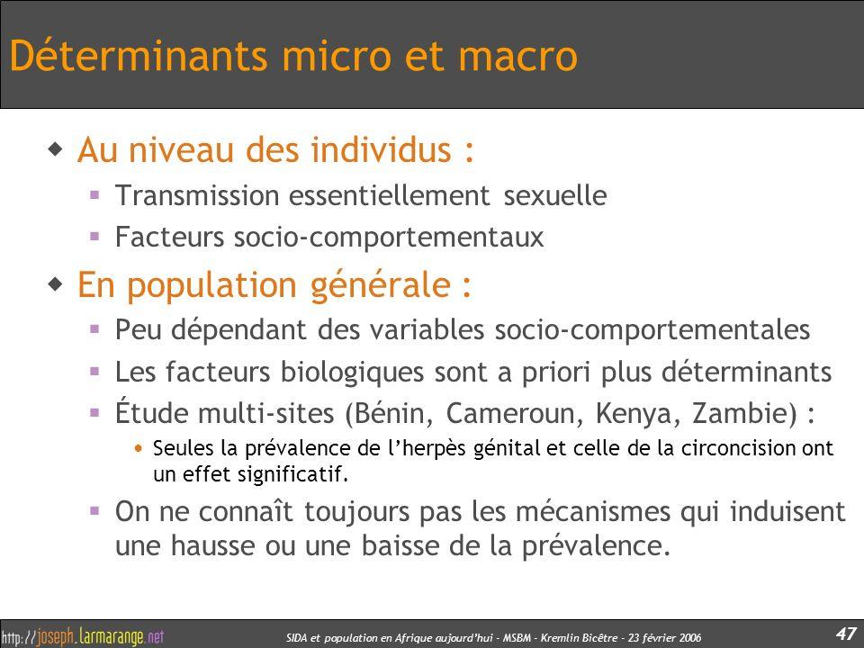 Déterminants micro et macro