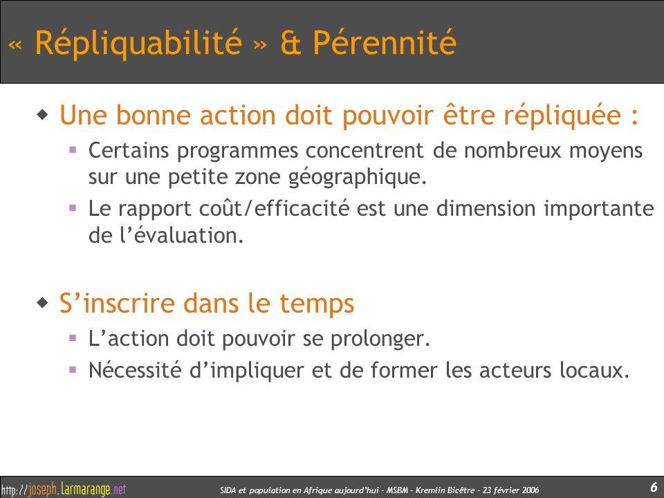 « Répliquabilité » & Pérennité