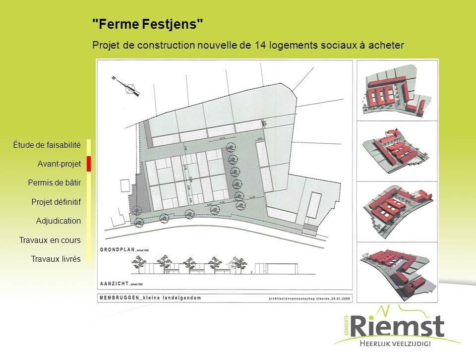 Ferme Festjens Projet de construction nouvelle de 14 logements sociaux à acheter. Étude de faisabilité.