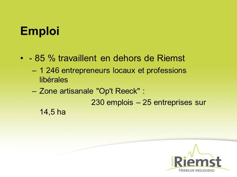 Emploi - 85 % travaillent en dehors de Riemst