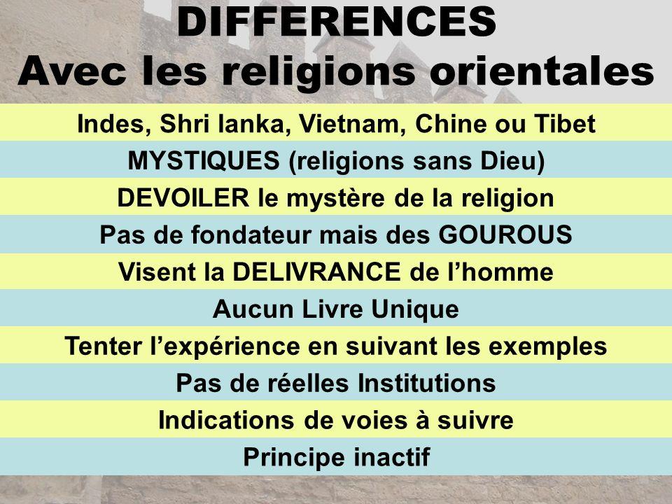DIFFERENCES Avec les religions orientales