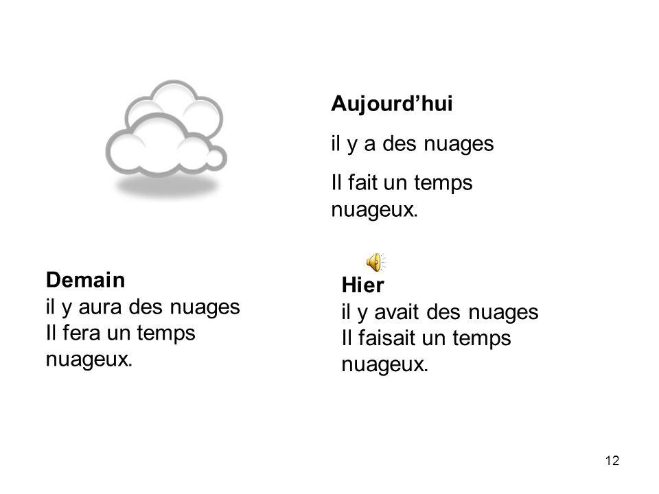 Aujourd'huiil y a des nuages. Il fait un temps nuageux. Demain. il y aura des nuages. Il fera un temps nuageux.