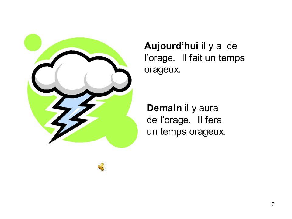 Aujourd'hui il y a de l'orage. Il fait un temps orageux.