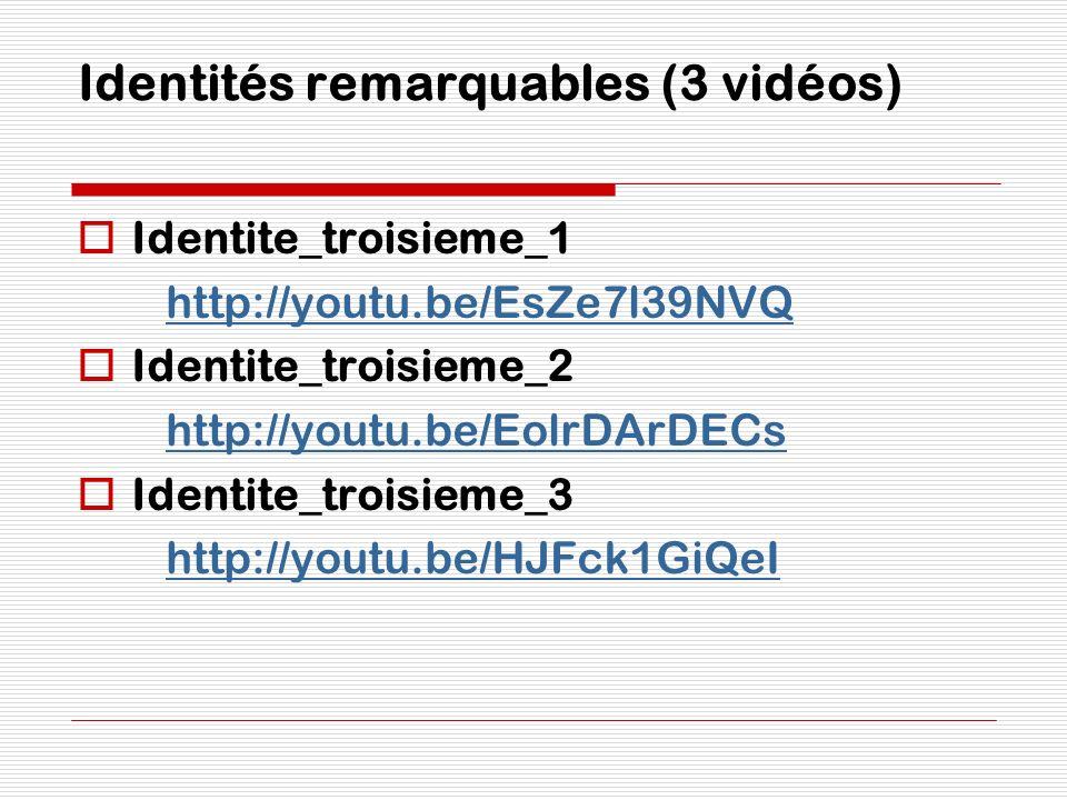 Identités remarquables (3 vidéos)