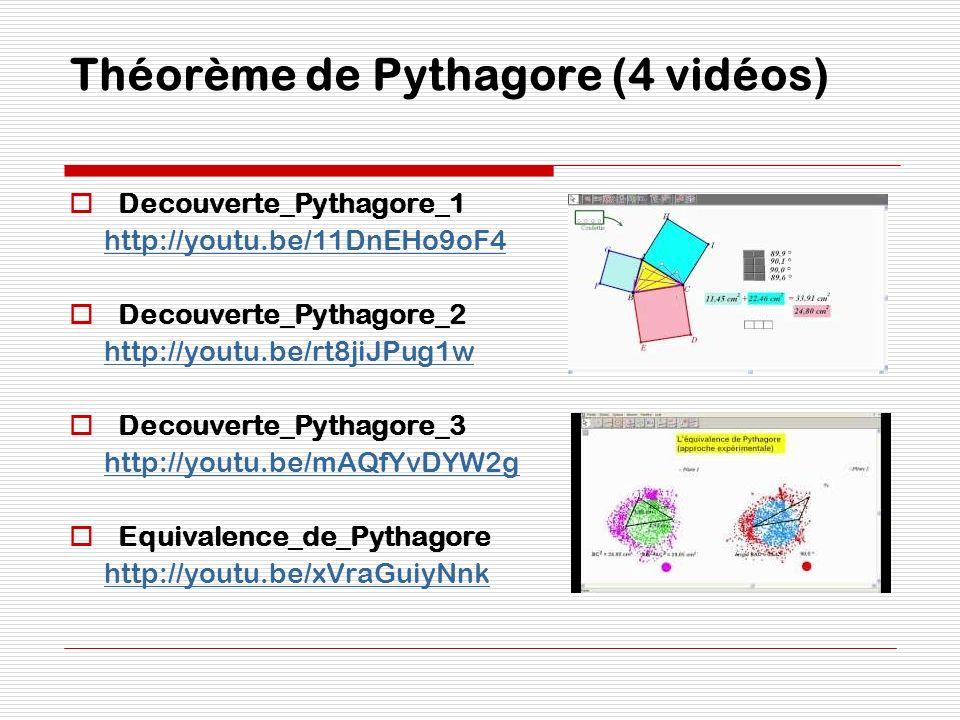Théorème de Pythagore (4 vidéos)