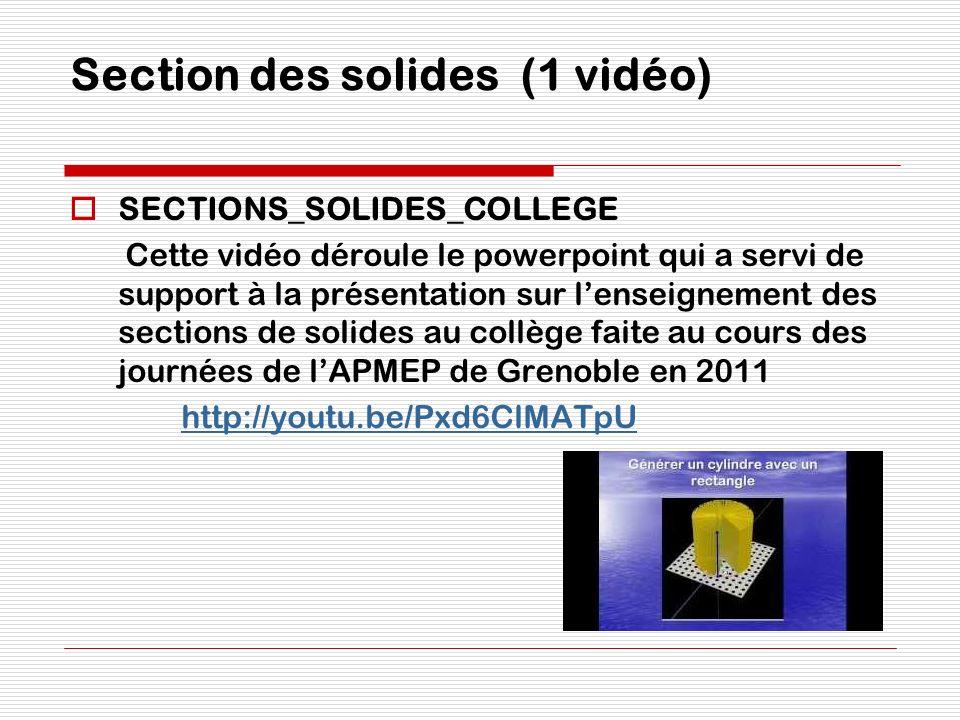 Section des solides (1 vidéo)