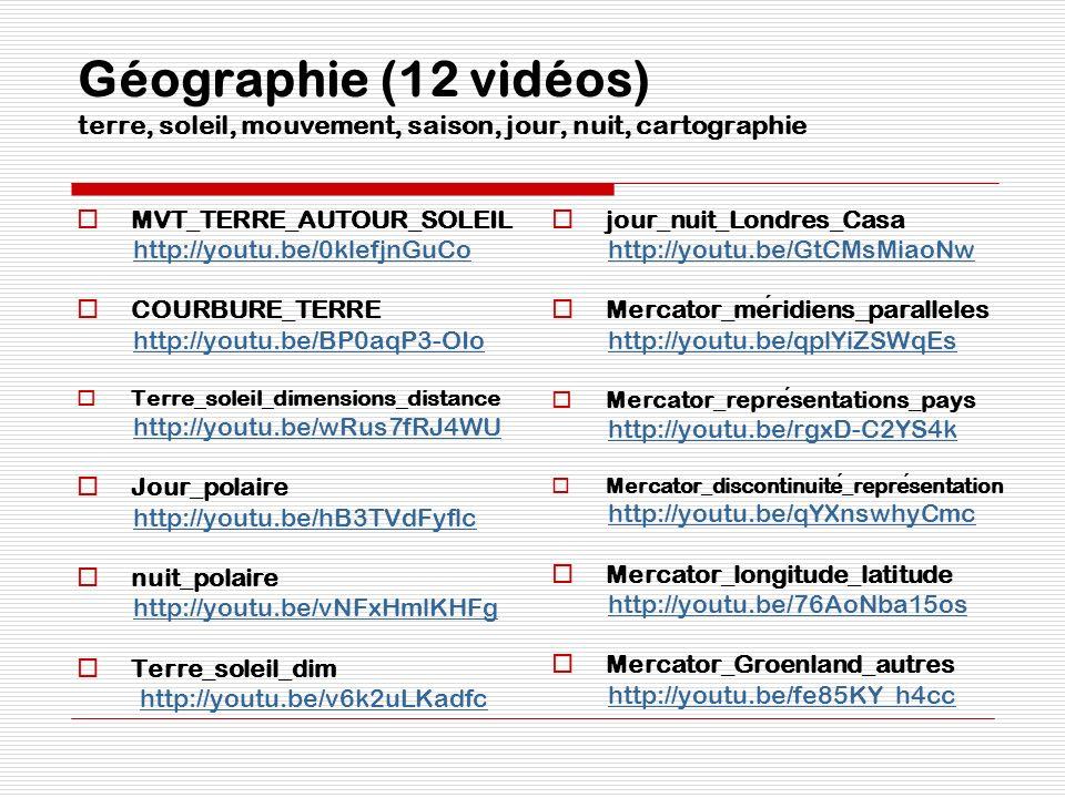 Géographie (12 vidéos) terre, soleil, mouvement, saison, jour, nuit, cartographie