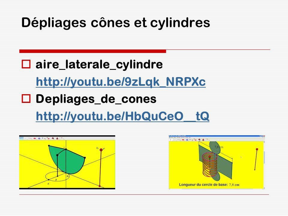 Dépliages cônes et cylindres