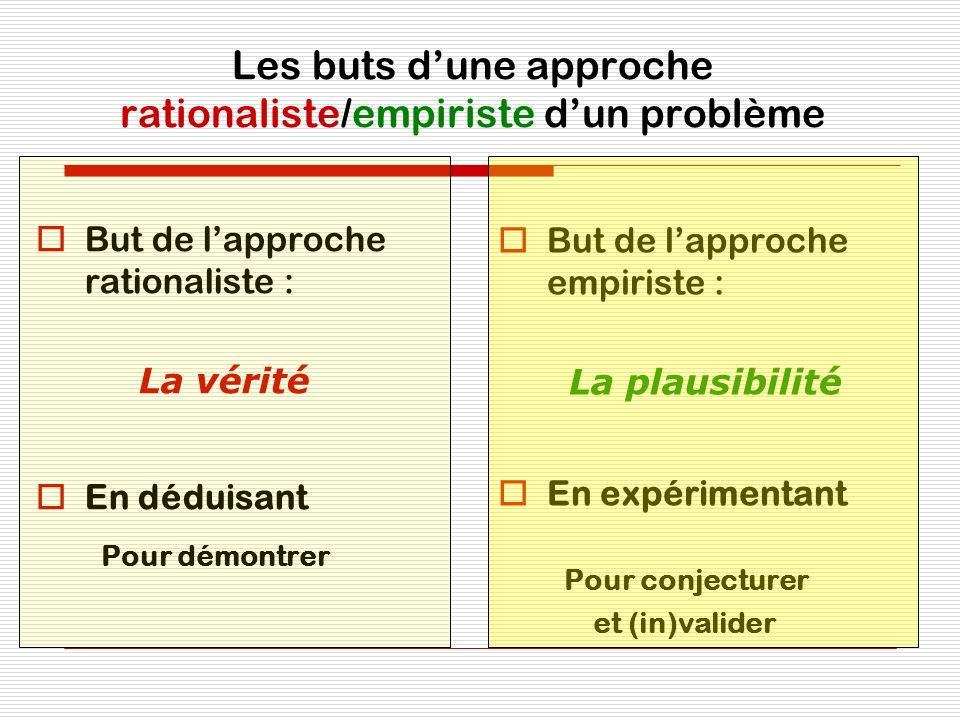 Les buts d'une approche rationaliste/empiriste d'un problème