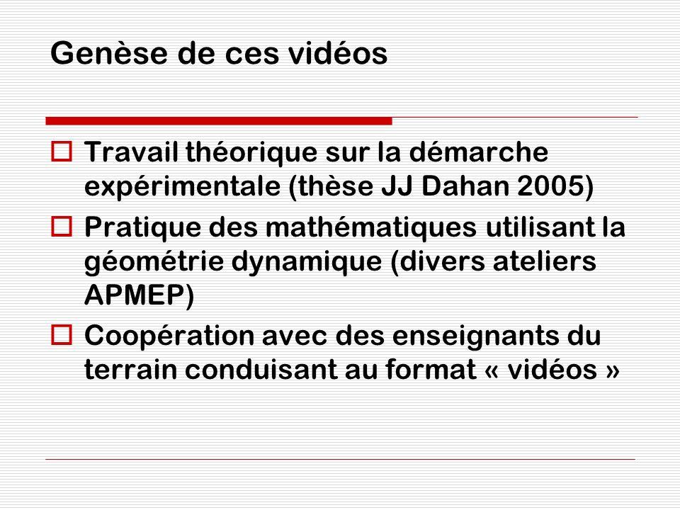 Genèse de ces vidéos Travail théorique sur la démarche expérimentale (thèse JJ Dahan 2005)