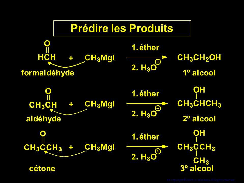 Prédire les Produits 1. 2. éther H O C + M g I formaldéhyde C H O
