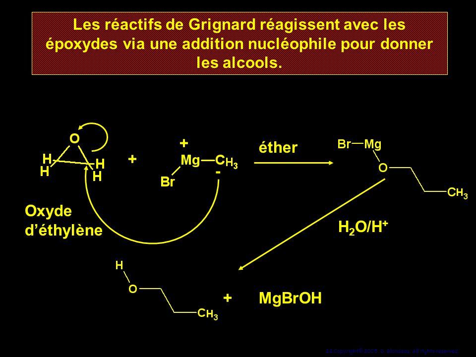 Les réactifs de Grignard réagissent avec les époxydes via une addition nucléophile pour donner les alcools.