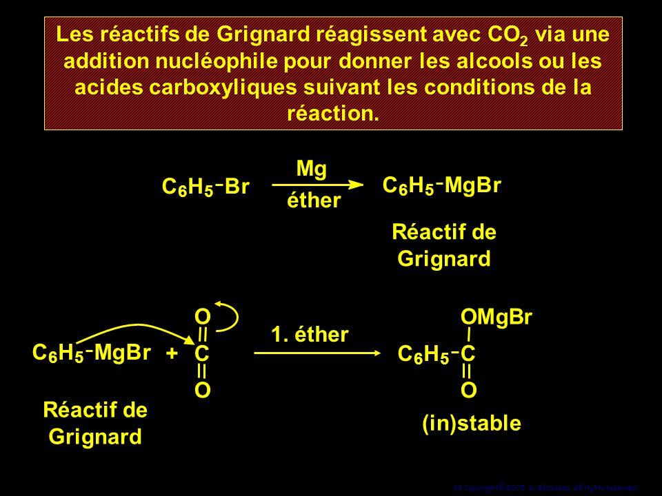 Les réactifs de Grignard réagissent avec CO2 via une addition nucléophile pour donner les alcools ou les acides carboxyliques suivant les conditions de la réaction.