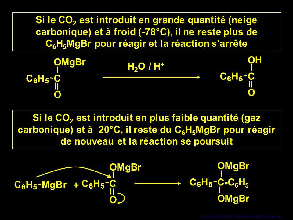 Si le CO2 est introduit en grande quantité (neige carbonique) et à froid (-78°C), il ne reste plus de C6H5MgBr pour réagir et la réaction s'arrête