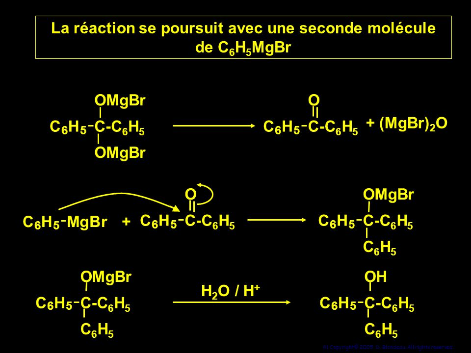 La réaction se poursuit avec une seconde molécule de C6H5MgBr