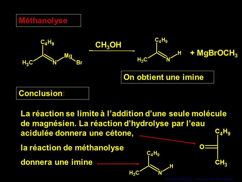 Méthanolyse CH3OH. + MgBrOCH3. On obtient une imine. Conclusion: