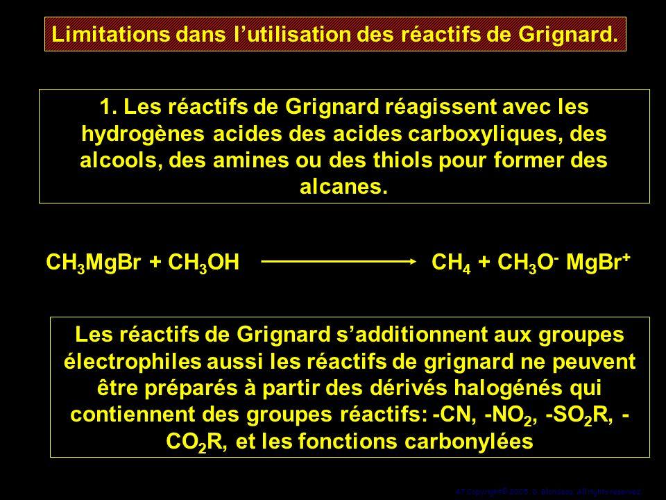 Limitations dans l'utilisation des réactifs de Grignard.