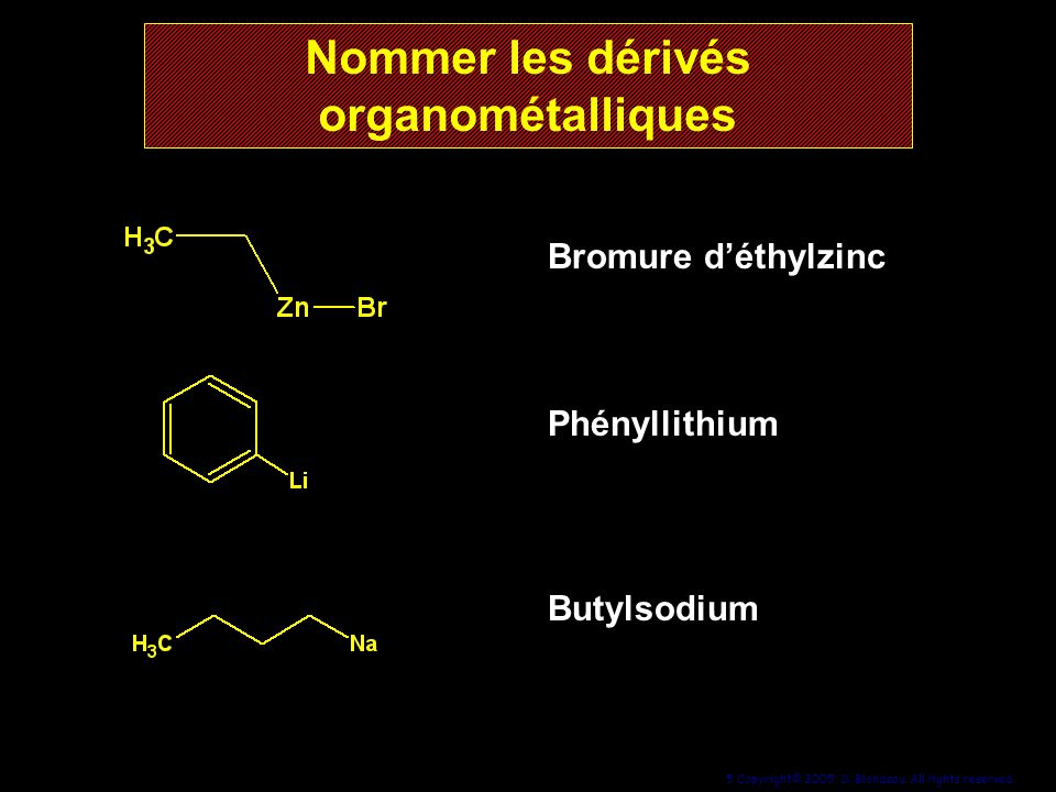 Nommer les dérivés organométalliques