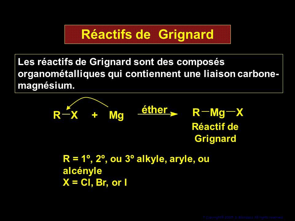 Réactifs de Grignard R X + M g é t h e r R M g X