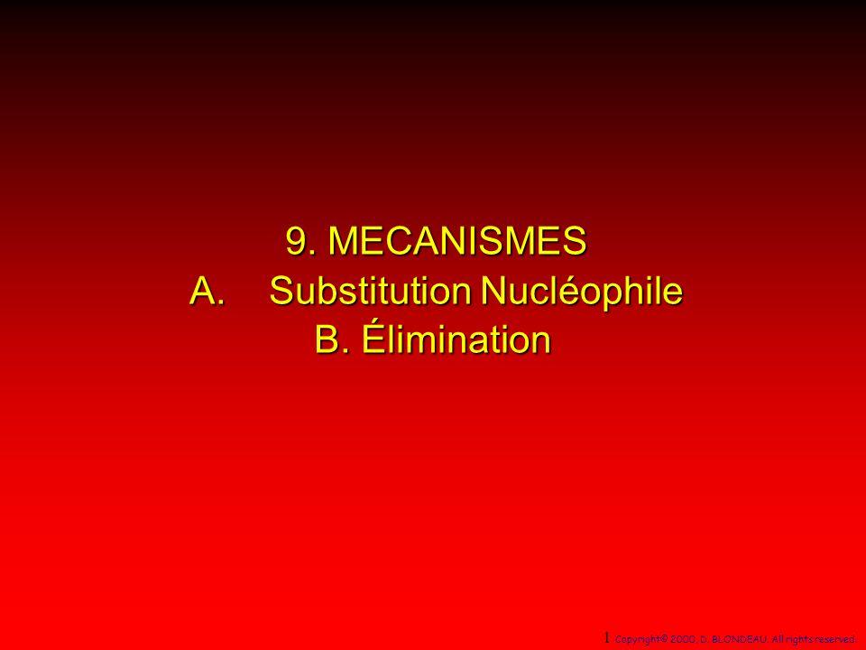 9. MECANISMES A. Substitution Nucléophile B. Élimination