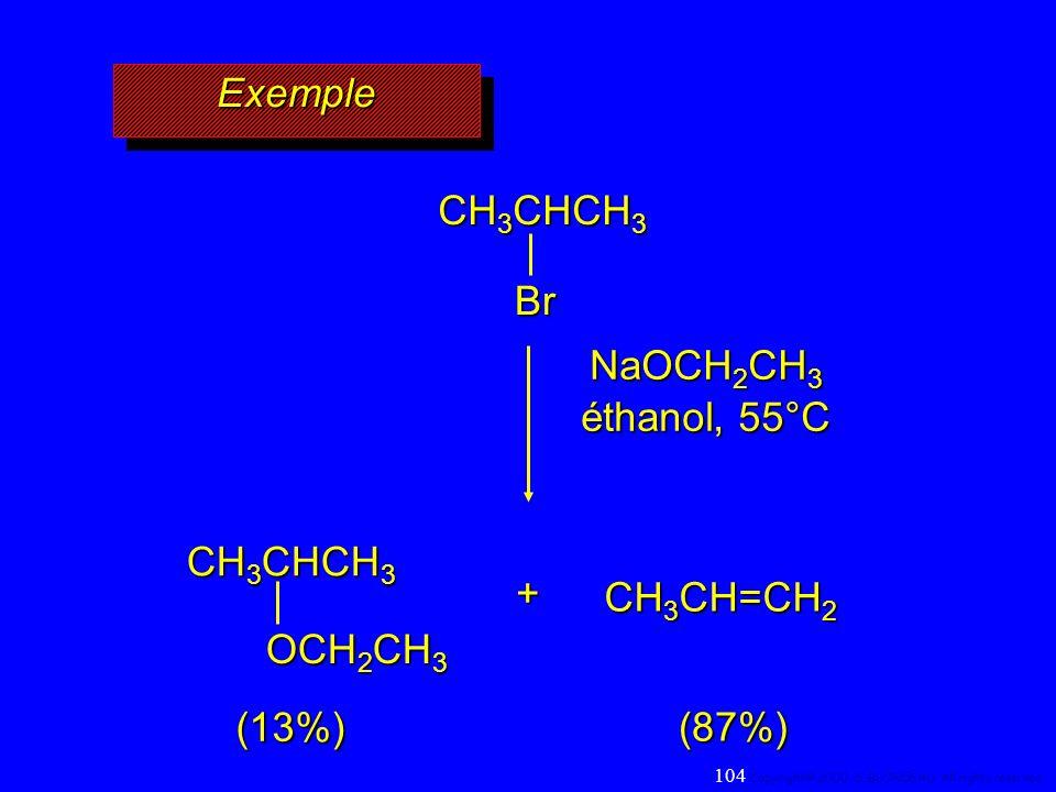 Exemple CH3CHCH3 Br NaOCH2CH3 éthanol, 55°C CH3CHCH3 OCH2CH3 +
