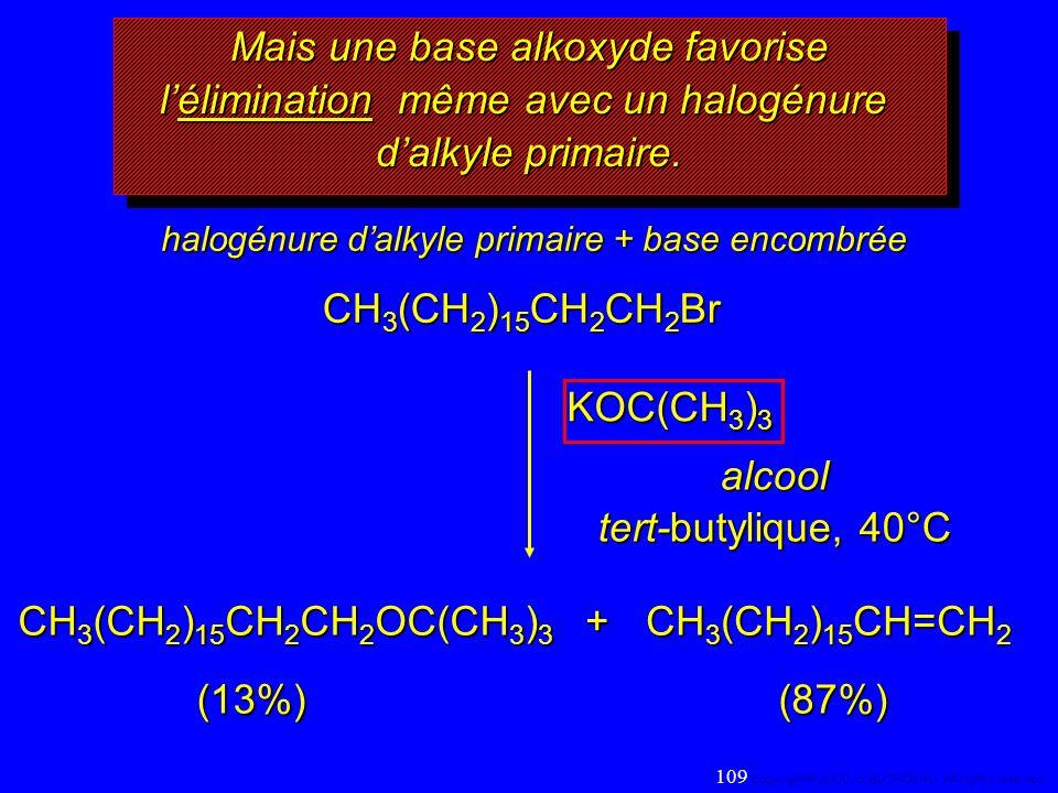 Mais une base alkoxyde favorise l'élimination même avec un halogénure