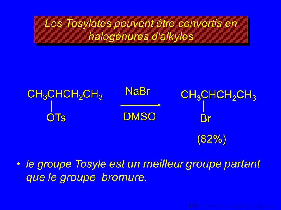 Les Tosylates peuvent être convertis en halogénures d'alkyles