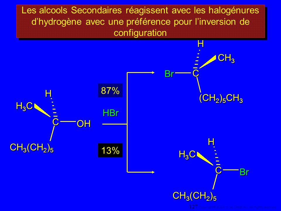 Les alcools Secondaires réagissent avec les halogénures d'hydrogène avec une préférence pour l'inversion de configuration