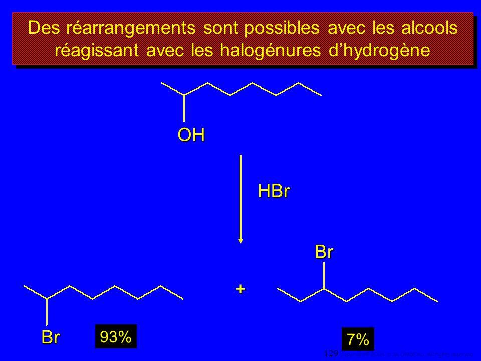 Des réarrangements sont possibles avec les alcools réagissant avec les halogénures d'hydrogène