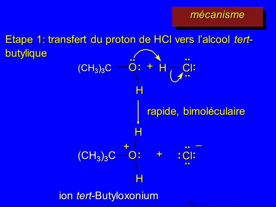 Etape 1: transfert du proton de HCl vers l'alcool tert-butylique