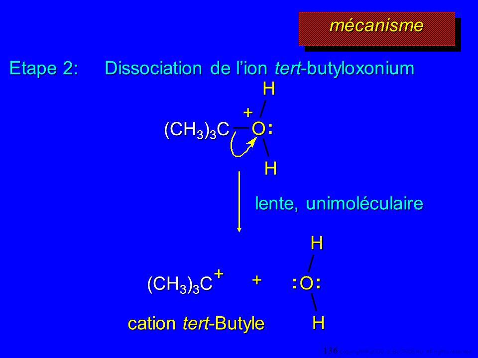 Etape 2: Dissociation de l'ion tert-butyloxonium