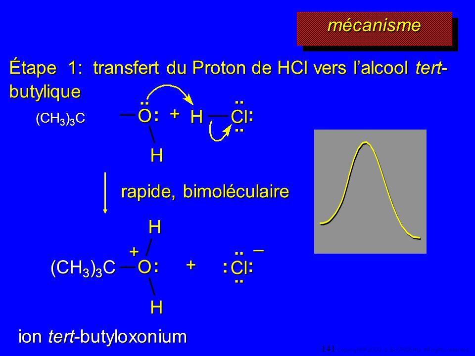 Étape 1: transfert du Proton de HCl vers l'alcool tert-butylique