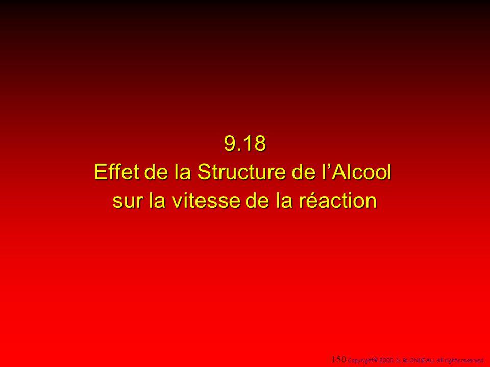 9.18 Effet de la Structure de l'Alcool sur la vitesse de la réaction