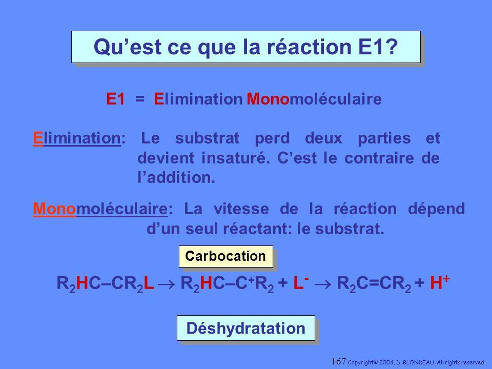 Qu'est ce que la réaction E1 E1 = Elimination Monomoléculaire