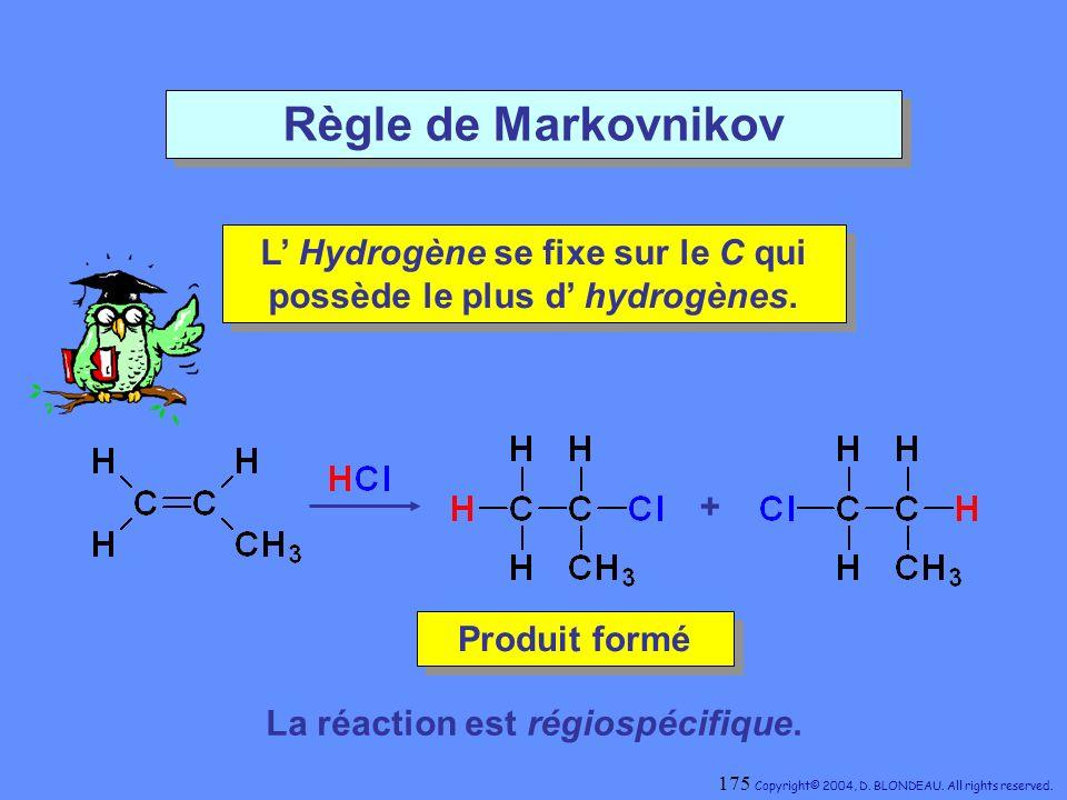 Règle de Markovnikov L' Hydrogène se fixe sur le C qui possède le plus d' hydrogènes. + Produit formé.