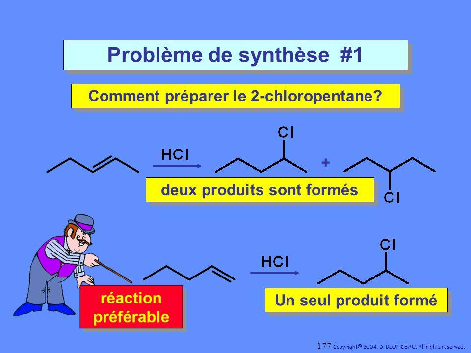 Comment préparer le 2-chloropentane deux produits sont formés