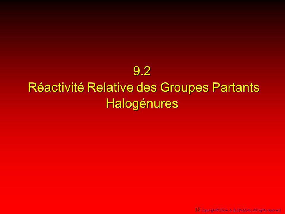 9.2 Réactivité Relative des Groupes Partants